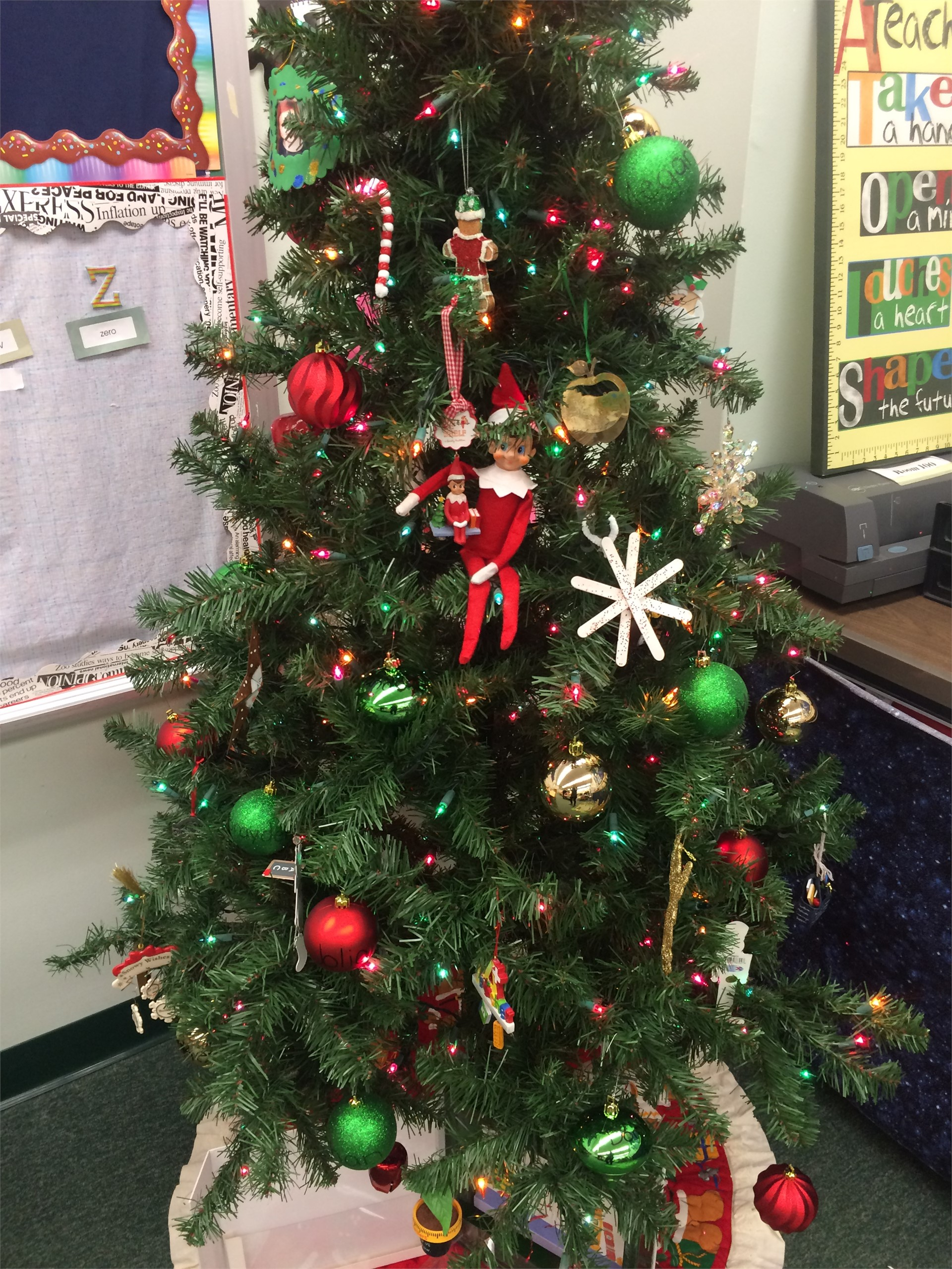 Room 100 Tree with our Elf on the Shelf Charley