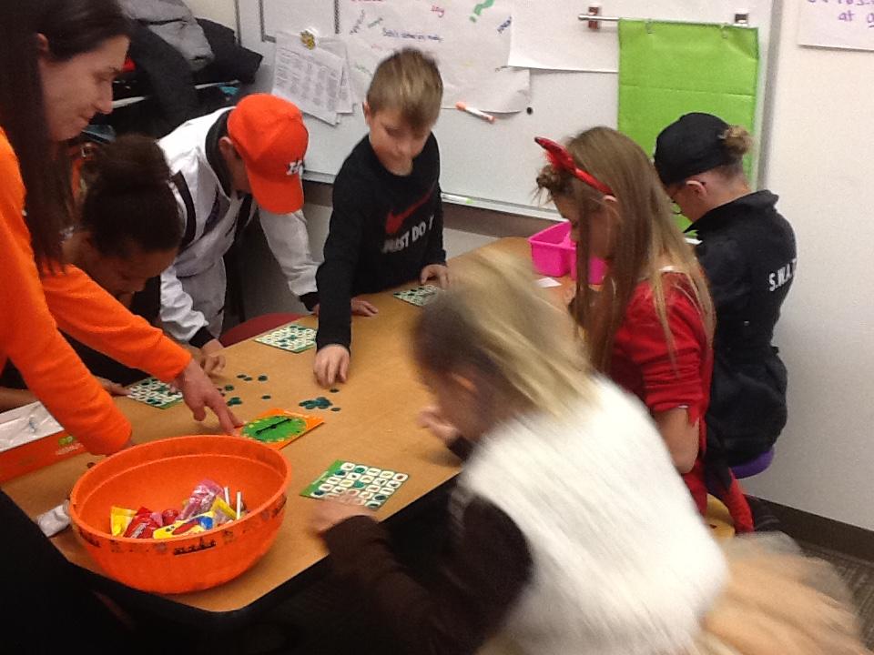 Playing Halloween bingo!