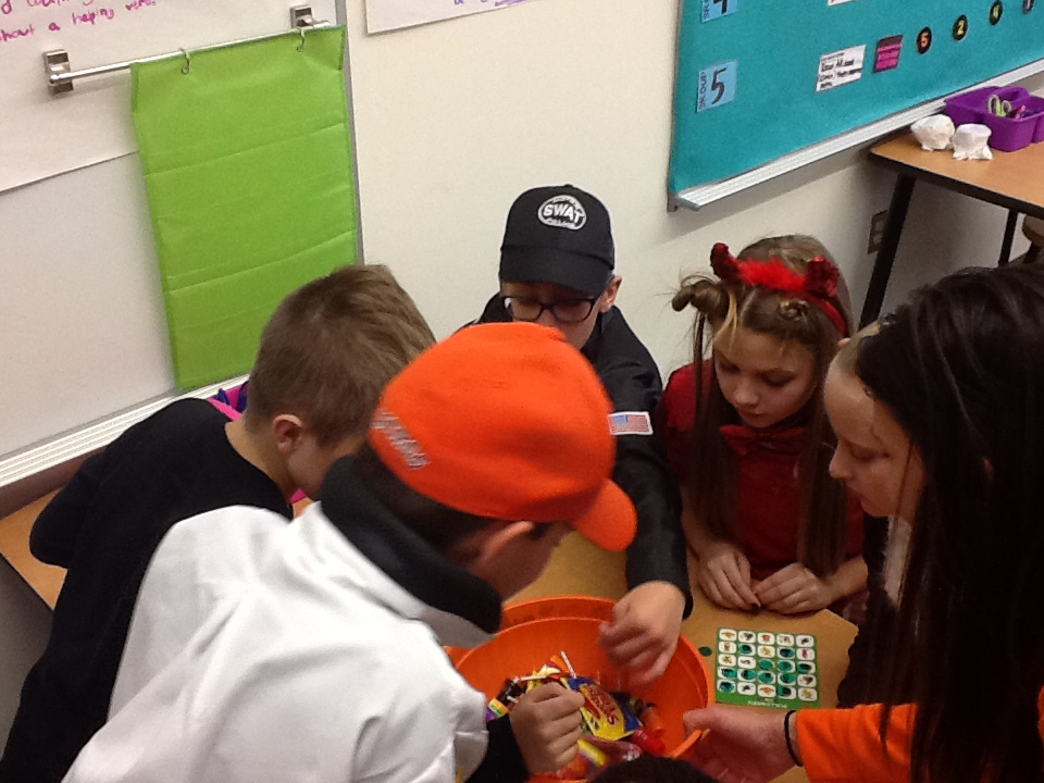 Picking out their candy!