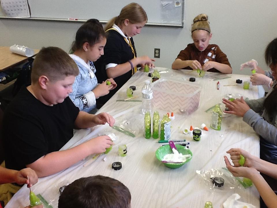 Making Frankenstein slime!