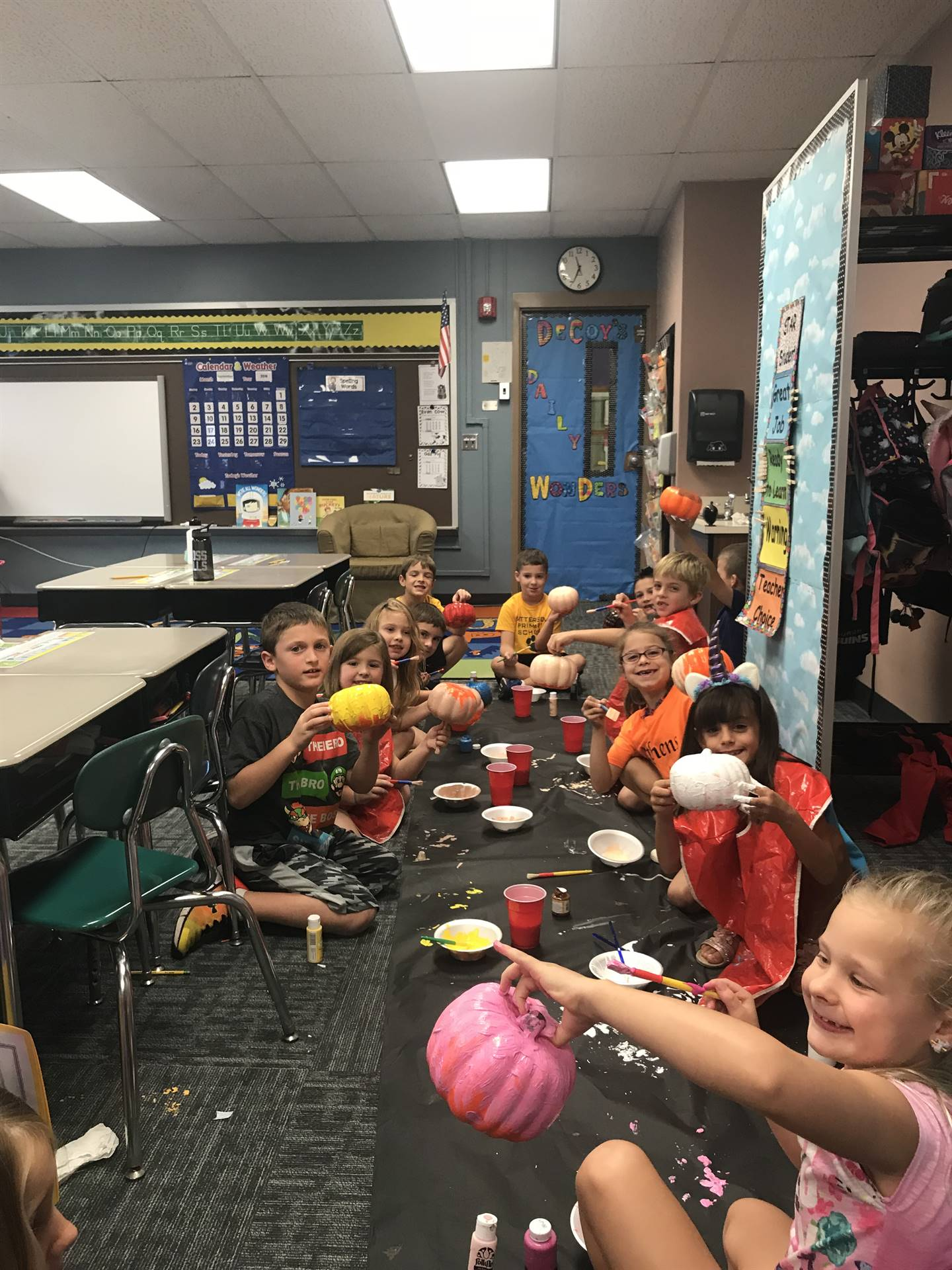Turning our pumpkins into characters!!